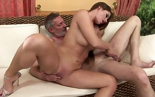 Teen Cathy Heaven has adorable fuck with old guy